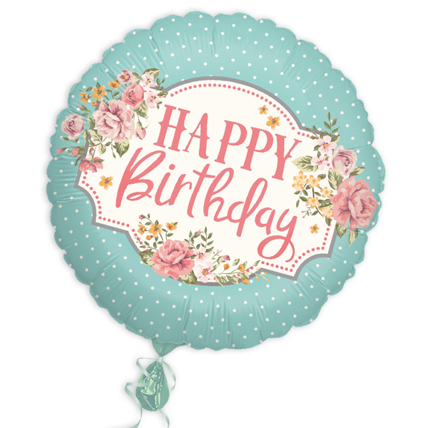 "Folienballon ""Happy Birthday"" im Vintage-Design, Ø46cm"
