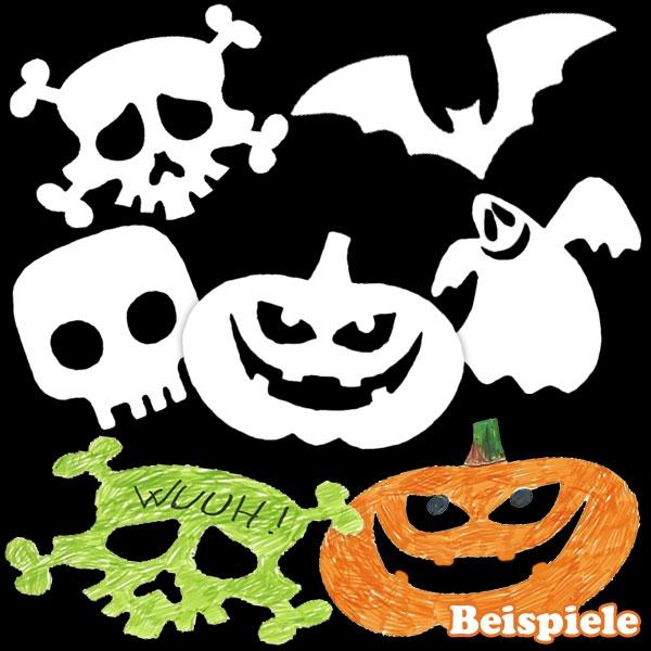 Halloween-Pappmotive mit Kürbis, Fledermaus und Totenkopf, 16 Stück