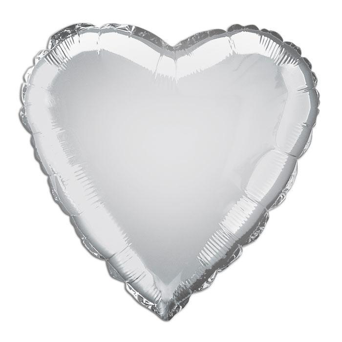 Folienballon herzförmig in Silber, ideal für Silberne Hochzeit, 35 cm