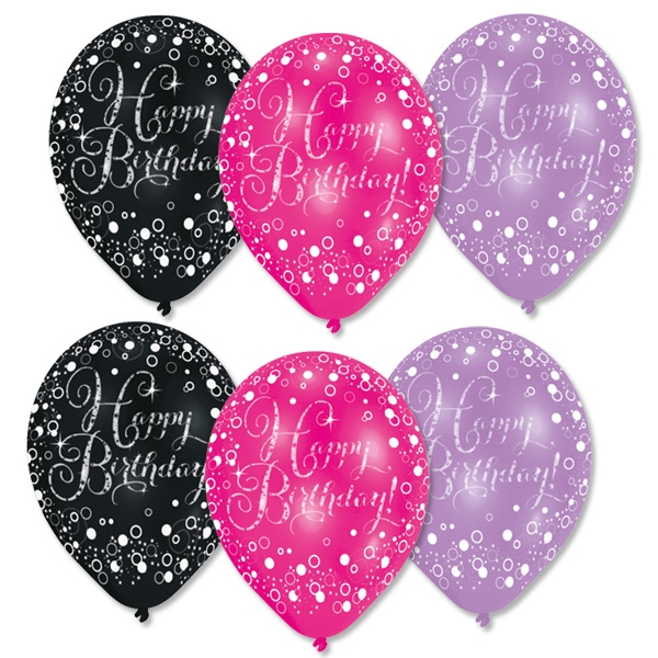 Luftballons Happy Birthday pink, lila, schwarz, Ø 27,5cm, 6 Stk