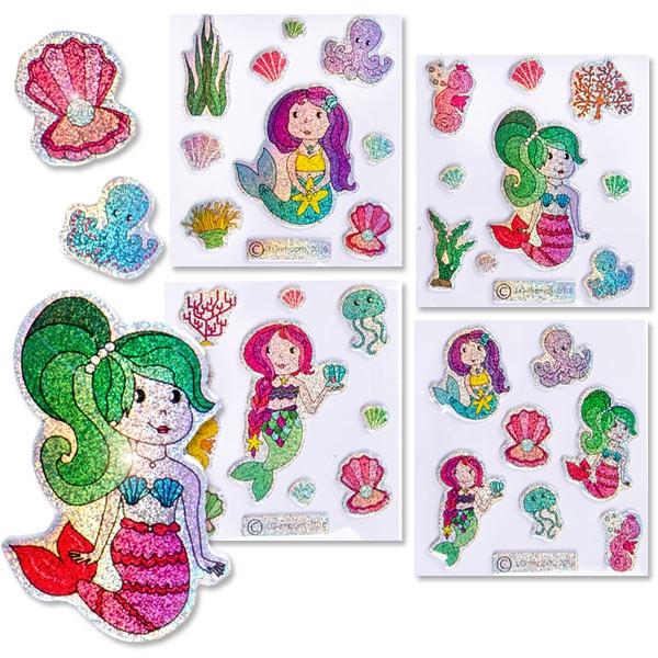 Glitzer Sticker Meerjungfrau 7x8cm, Aufkleber für Kinder, 1 Karte,