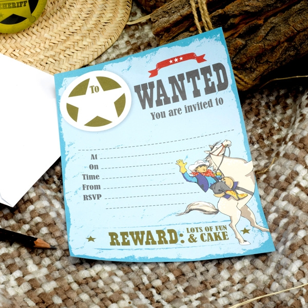 Wild West Cowboys - Einladungen, 10 Stück
