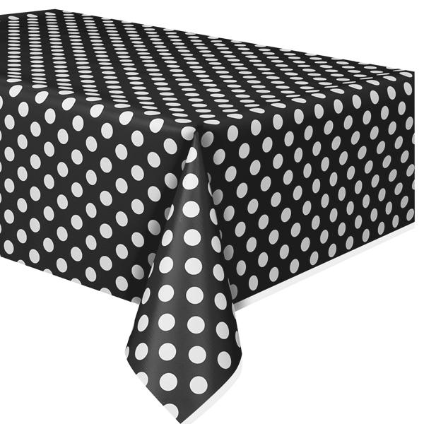 Tischdecke in Schwarz mit weißen Punkten aus Folie, 2,7 × 1,4 m
