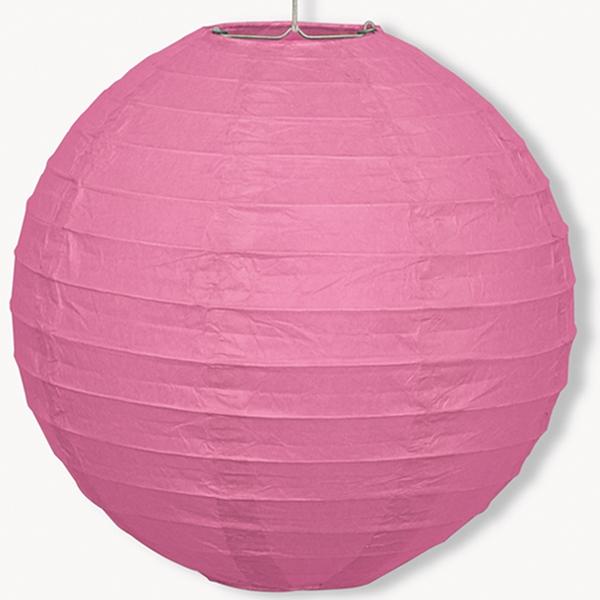 Papier-Lampion rosa, 25cm, mit Metallbügel +Schnur zum Befestigen
