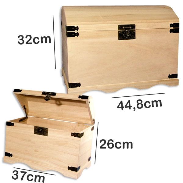 2 Holztruhen massiv mit Beschlägen zum Bemalen, 44x32cm & 37x26cm