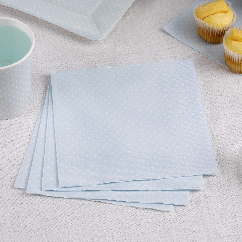 Servietten in zartem blau mit weißen Punkten, 16 Stück, 33 cm
