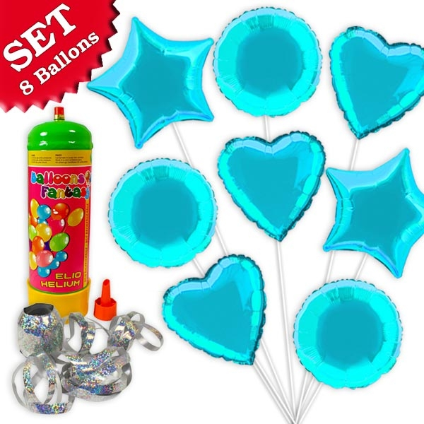 Helium Ballongas Set Blau, 10tlg