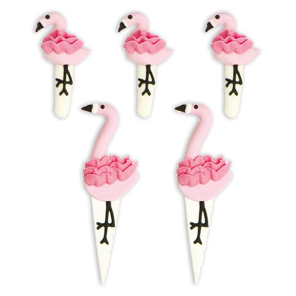 5 Flamingo Zuckerdekore, ca. 5-7cm