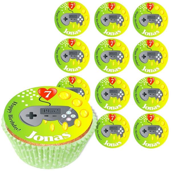 Personalisierte Muffinaufleger, 12 Stück, Gamer, d= 5cm