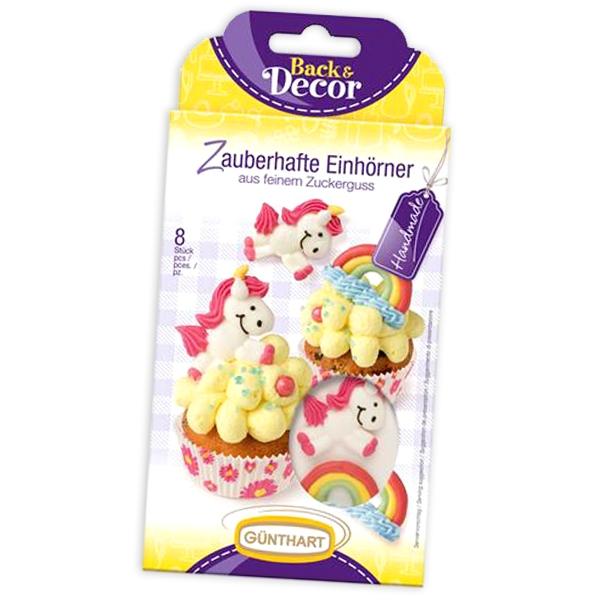 Zucker Einhörner und Regenbögen, niedliche Zuckerfiguren im 8er Pack
