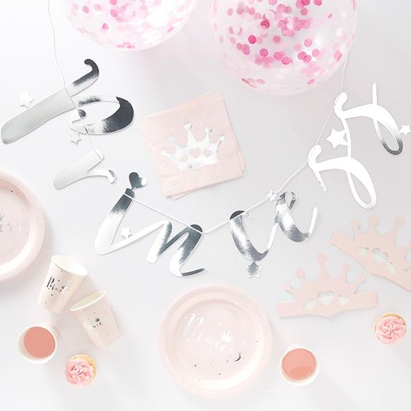 Princess Partykiste, rosa und silberne Deko, 70-teilig