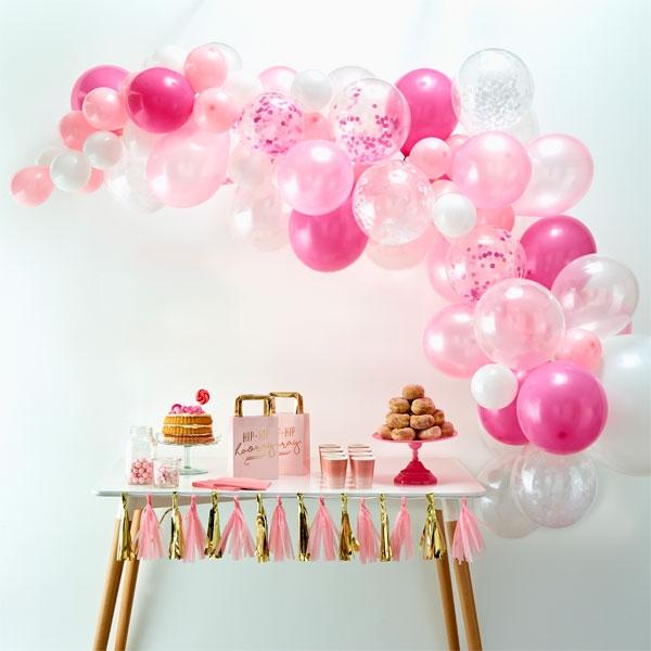 Ballongirlande mit 70 Ballons in weiß & pink