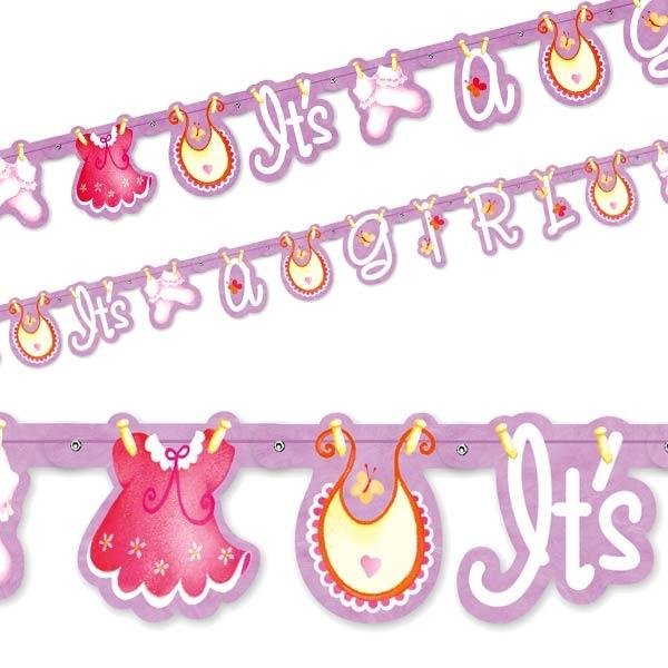 Buchstabenkette, It's a Girl, 1,57m lang, Raumdeko zur Baby Shower-Party