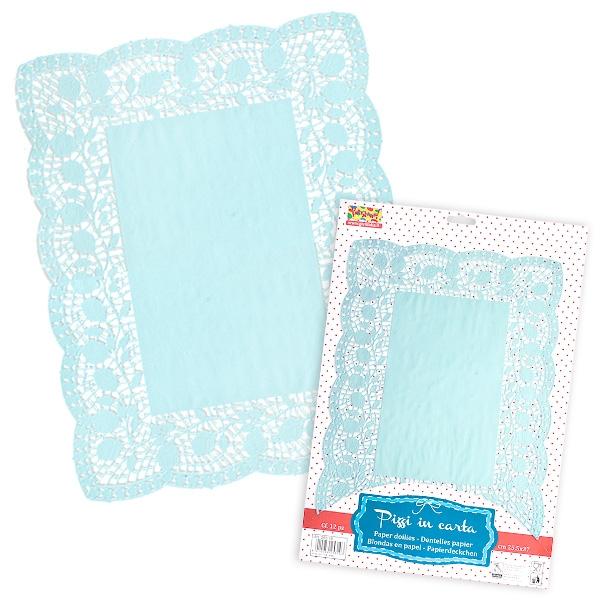 Spitzen-Deckchen aus Papier, 10 Stück, hellblau, 30 x 40 cm