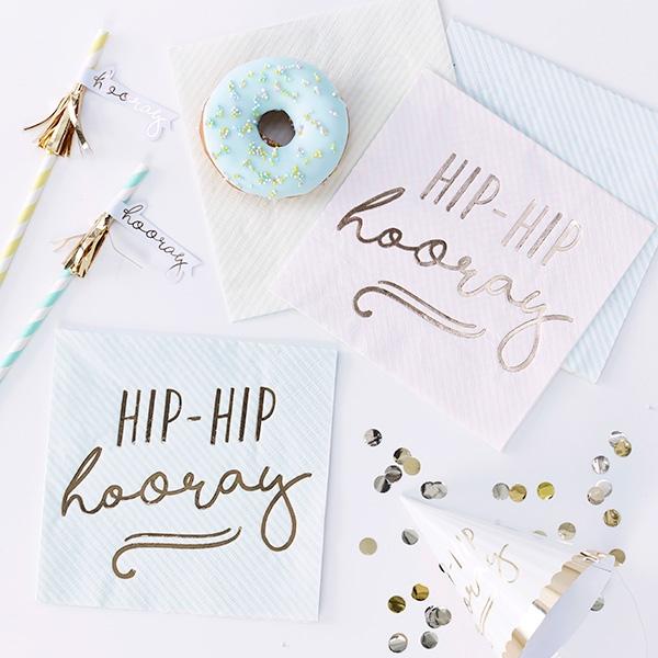 """Hip Hip Hooray"" Servietten, 4 Pastellfarben, 16 Stück"