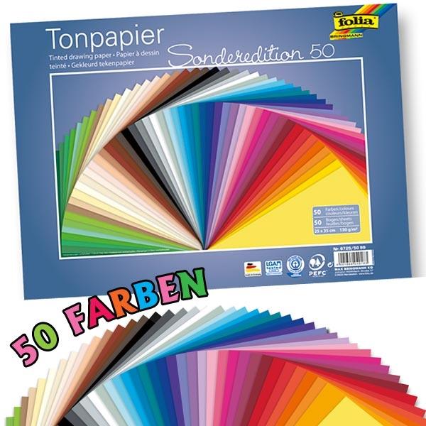 Tonpapier 50 Blatt, 50 versch. Farben, 25cm x 35cm, ideal zum Basteln der verschiedensten Dinge