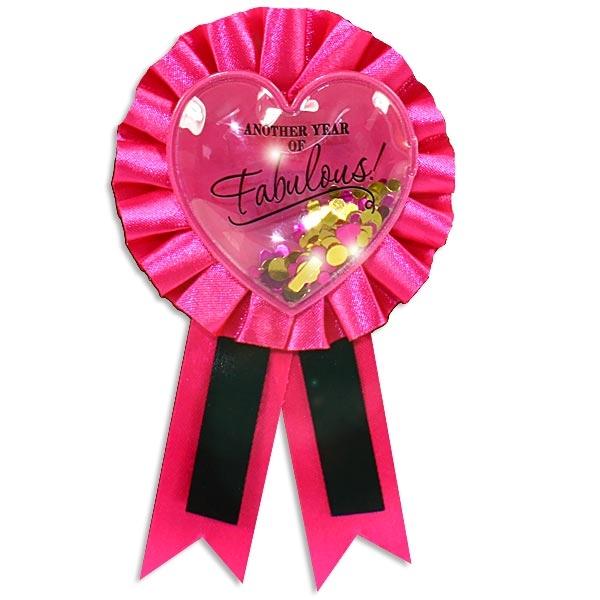 Fabulous Ansteckbutton pink 14 cm mit Sicherheitsnadel, Plastik/Textil