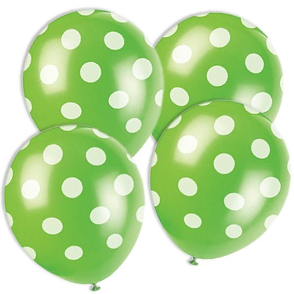 grüne Ballons mit weißen Punkten im 6er Pack aus Latex, ca. 30 cm