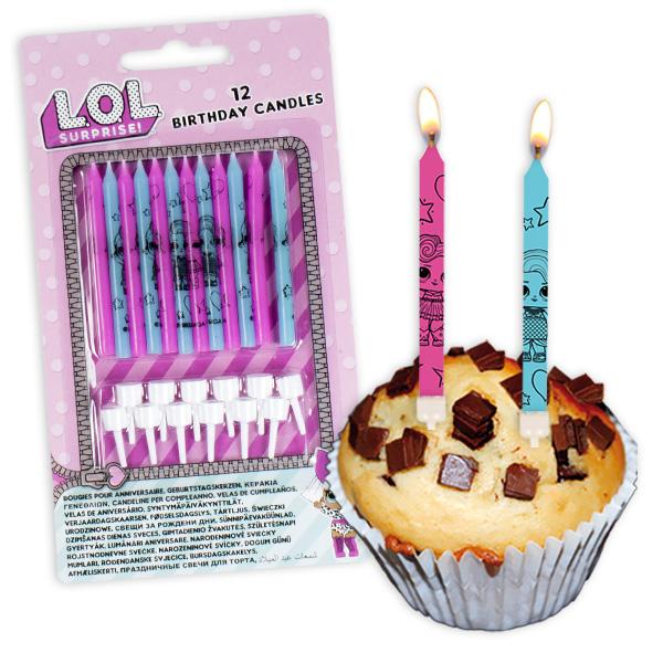LOL Surprise Tortenkerzen, 12er Pack mit 12 Kerzenhaltern aus Kunststoff
