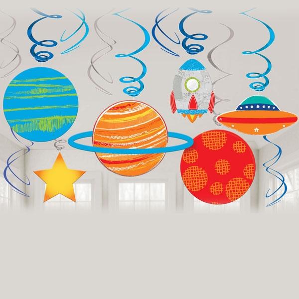 Weltall Spiralen Set 12-tlg, Thema Weltraum / Astronaut