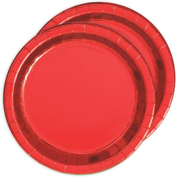 Metallic rot schimmernde Partyteller, 8 Stück, Pappe