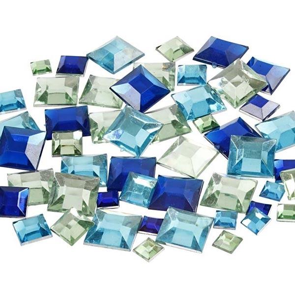 Strasssteine, 360 Stk, Eckig, blau, facettierte Oberfläche, 6 - 12mm