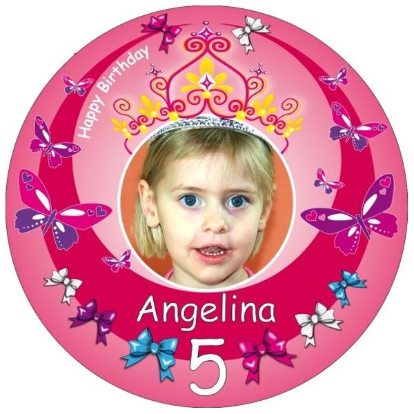 Prinzessin Tortenaufleger mit Foto, Name, Alter – rund