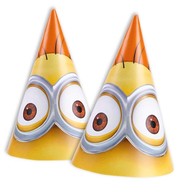 Minions Partyhüte 6er Pack +Gummi, Hütchen für Minions-Mottoparty