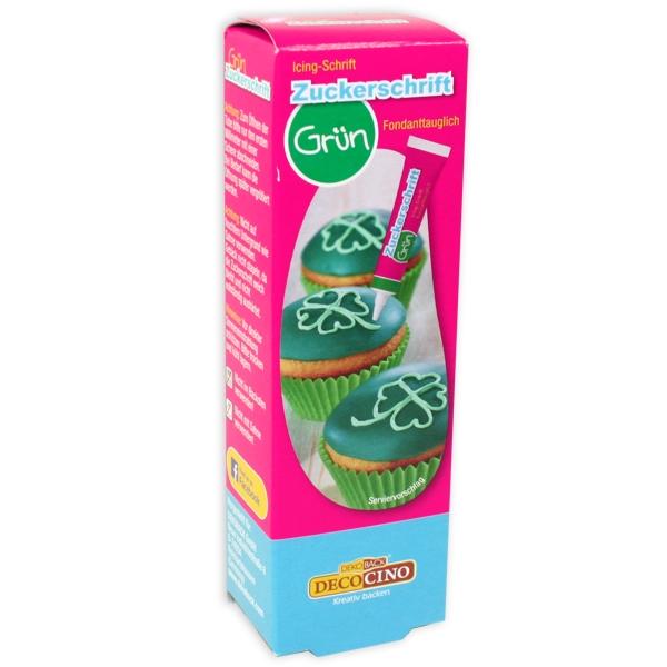 Zuckerschrift grün, 1 Tube grüne Tortenschrift aus Zuckerguss, 18 g