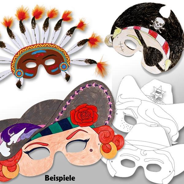 Faschingsmasken zum Bemalen, 6 Kindermasken aus Pappe, 21cm