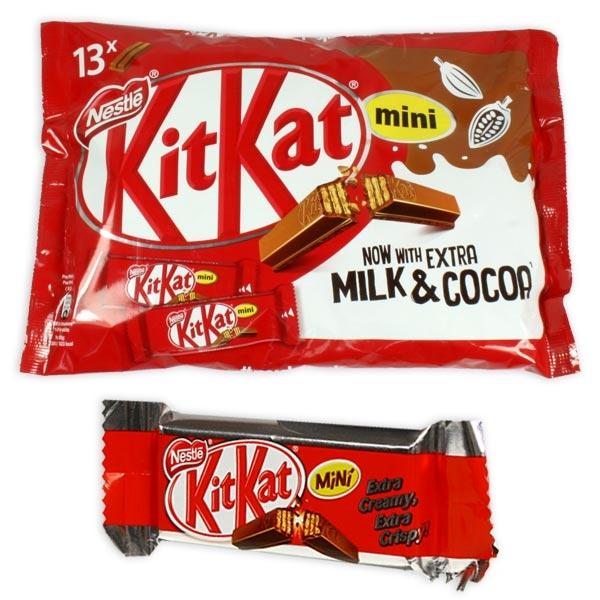 Kitkat Packung, mit 13 einzelnen Kitkats, 217g, Knusperwaffel in Milchschokolade, MHD 01/2021