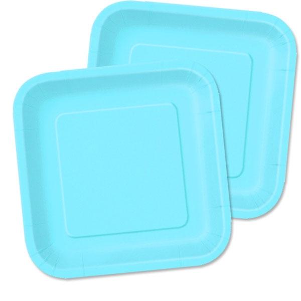 hellblaue Partyteller eckig 18 cm, Einwegteller aus Pappe, 16 Stück