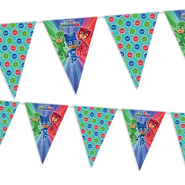 Pyjamahelden Wimpelkette aus Folie für Indoor & Outdoor-Partys, 2,3m
