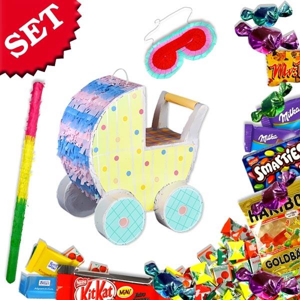 Babyparty-Pinata-Set als Kinderwagen für Junge und Mädchen mit Pinatakeule +Maske +Süßes