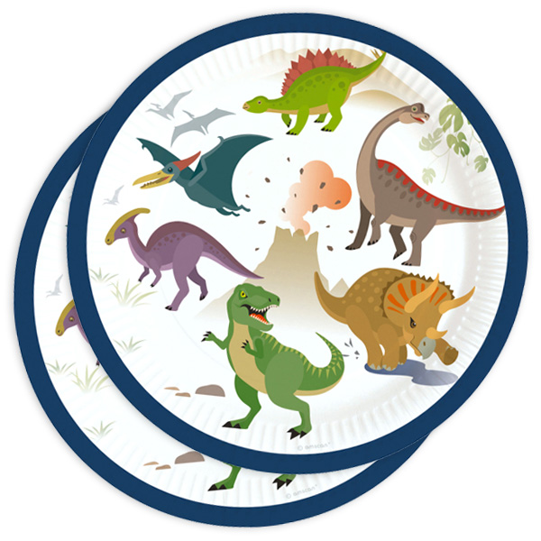 Partyteller mit Dinosauriermotiv, 8er Pack, Ø 18cm