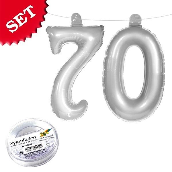 Zahl 70 in Silber mit Band für 70. Geburtstag oder 70. Jubiläum