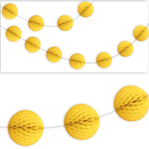 Wabenball Girlande, gelb, 2,13m