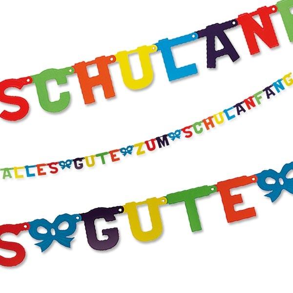 Buchstabenkette - Alles Gute zum Schulanfang - 2,86m, veredelte Pappe