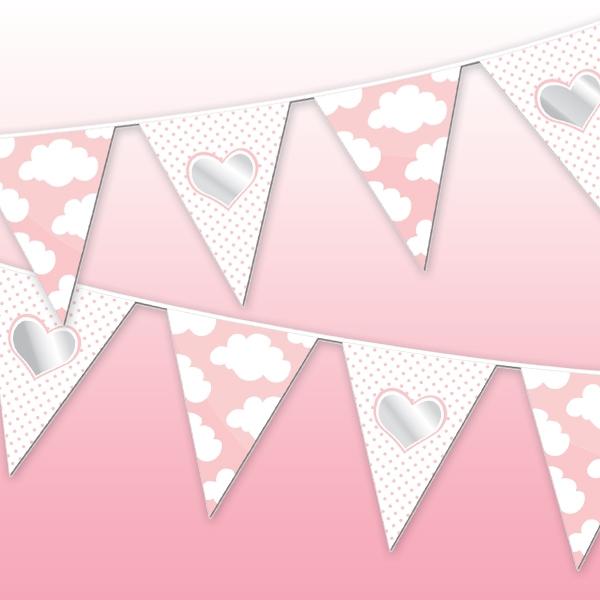 Wölkchen-Wimpelkette rosa für Babyparty Mädchen, 10m, 1 Stück
