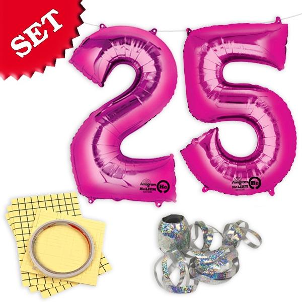 """XXL Folieballons Zahl """"25"""", pink, zum 25. Geburtstag einer jungen Frau"""