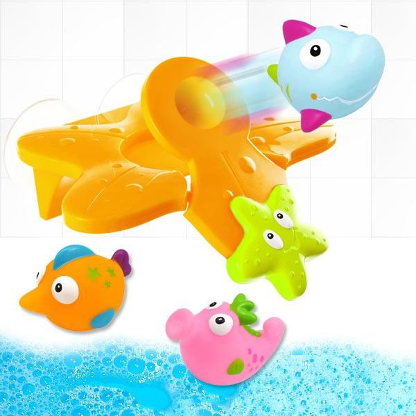 Fisch-Katapult Wasserspielzeug für Badewanne, 4-teiliges Set
