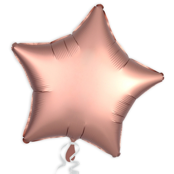 Folienballon Stern, Satin Luxe Rose-Kupfer, 45 cm