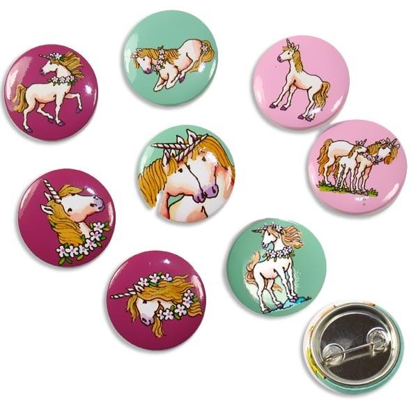Einhorn Mini Buttons, 8er Pack, Ansteckbuttons für Einhornparty