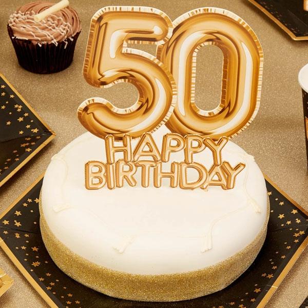 "Cake Topper ""50. Happy Birthday"", Gold"