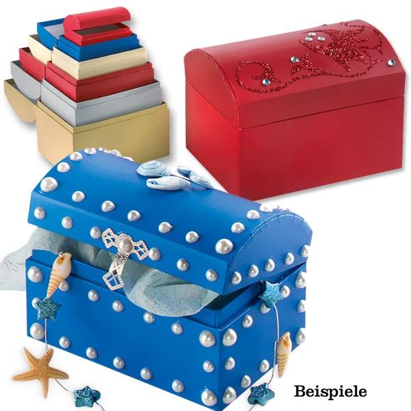 Geschenkboxen 6er Set, mit 6 Truhen in versch. Farben und Größen, zum Gestalten und Verschenken