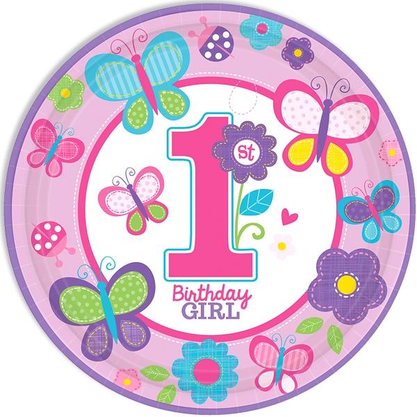 Sweet Birthday Girl Teller 8 Stk. mit Schmetterling und Blümchen, 23 cm