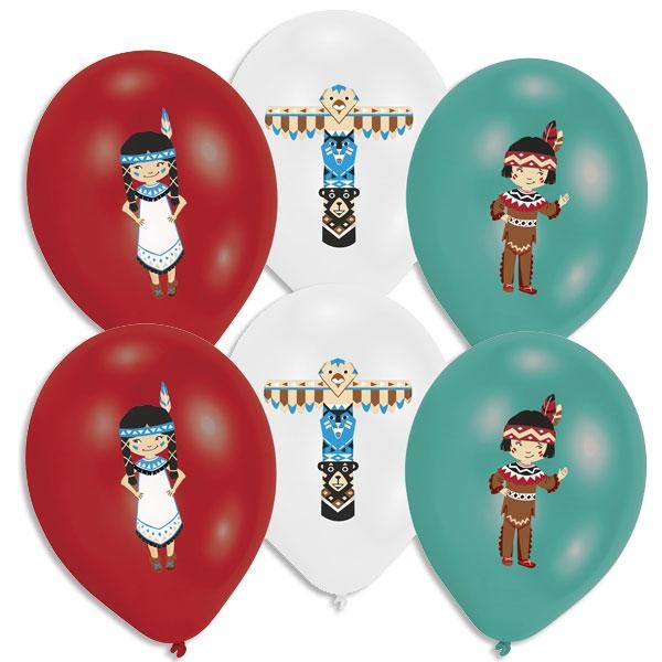 Indianer Party Luftballons, 6er Pck, bunter Aufdruck, Ø 27,5cm