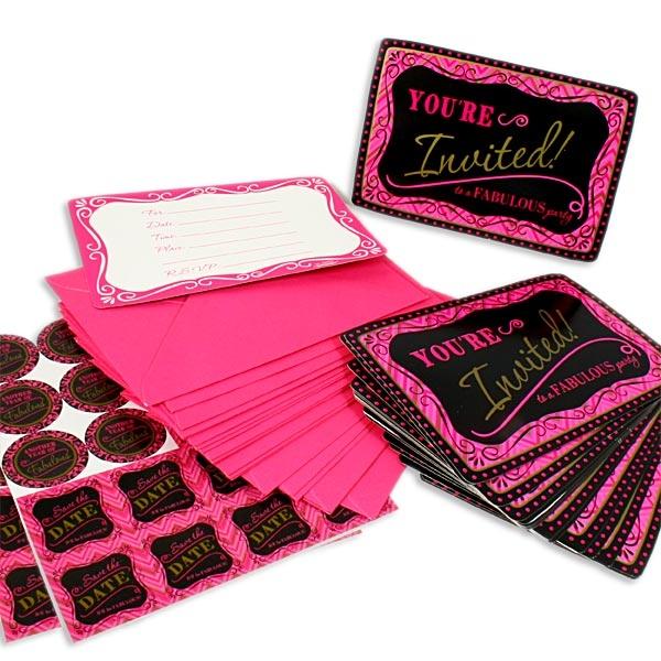 Fabulous Einladungen im 20er Pack mit Umschlägen, in Pink-Schwarz