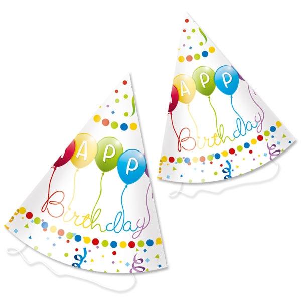 """""""Happy Birthday Luftschlangen"""" Partyhüte 6er Pckm 16cm"""