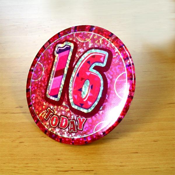 Zahl 16 auf Glitzer-Button, 15cm, mit Anstecknadel